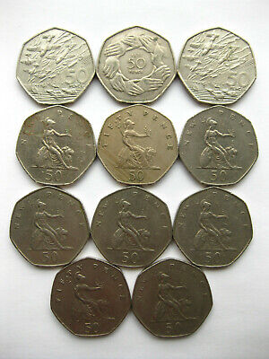 UK Old Style Large 50p Fifty Pence Coins D-Day Landings & Hands EEC Circulated