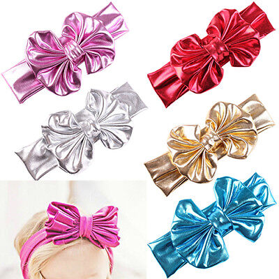 EE_ NE_ Baby Girls Kids Big Bow Hairband Headband Stretch Turban  Knot Head Wrap
