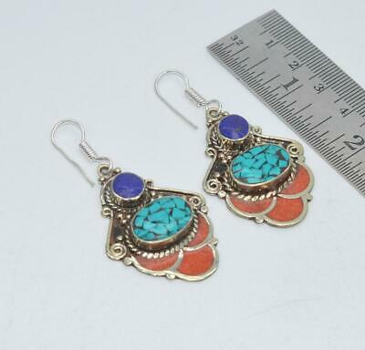 925 Tibetan Silver Turquoise Blue Lapis Lazuli Red Coral Hook Earring Xi601