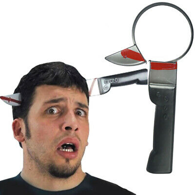 EE_ FT- Fake Knife Pass Through Head Scary Prank Toy Bloody Horror Party Props M