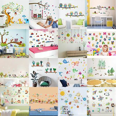 Cartoon Animals Kids Children Wall Stickers Bedroom Art Decal For Play Study DH*