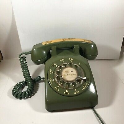 Vintage Bell System Western Electric Green Desk Rotary Telephone Phone
