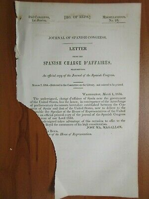 Government Report 3/7/1854 US Official Copy of the Journal of Spanish Congress