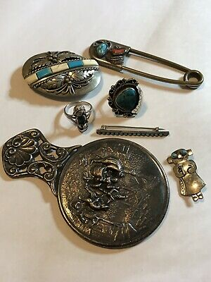 VTG JUNK DRAWER Jewelry LOT 925 Navajo Kachina Pins Buckle Coral Turquoise