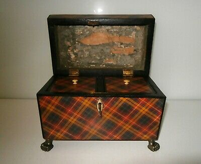Fabulous Antique Victorian Tartan Ware Tea Caddy 'Buchanan Clan' c1860-80