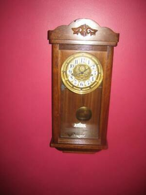Chicago Clock Co Westminster Spring 3-Key Wind Up Chime Pendulum Wood Wall Clock