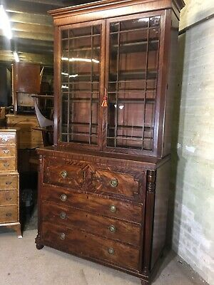 Antique Flamed Mahogany Secretaire Bookcase. Delivery Available To Most Areas
