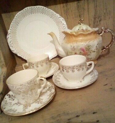Beautiful Vintage  22Kt Gold China Tea Set Inc Rare Teapot And Cake Plate