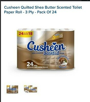24 Rolls Cusheen 3PLY Quilted Shea Butter Scented Toilet ROLLS - GREAT PRICE