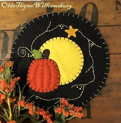 Primitive Stitchery Bittersweet HARVEST Moon Penny Rug ~ Fall Pumpkin Candle Mat
