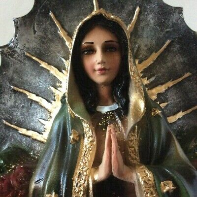 """16"""" Our Lady of Guadalupe Resin Statute w/Glass Eyes 