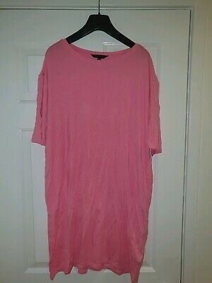 LOVELY WOMENS NEW LOOK PINK OVERSIZED T SHIRT SIZE 14 Brand New Without Tags