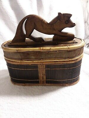 Wooden Box With Animal Figurine