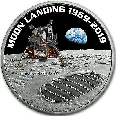 2019 Australia Silver Moon Landing 50th Anniversary 1 Ounce Silver Colorized!!