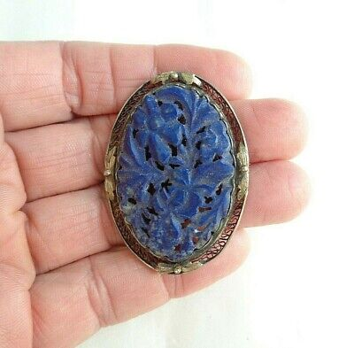 Antique Asian Chinese Carved Blue Lapis Flowers Oval Silver Pin