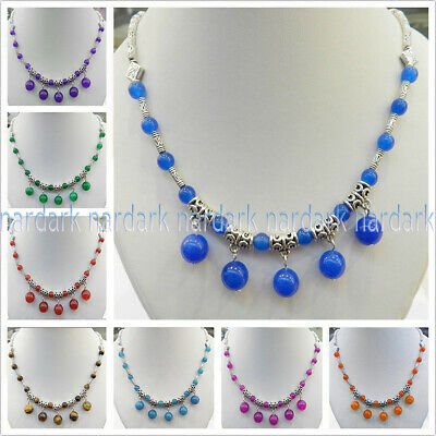 Lovely Colorful Natural Round Gemstone Beads Pendant & Tibet Silver Necklace 18""