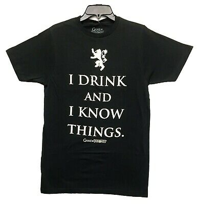 Game Of Thrones Men's Tyrion Lannister I Drink and I Know Licensed T-Shirt New