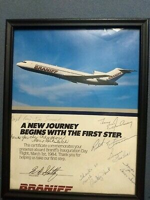 Braniff Certificate Commemorating It's Inauguration Day Flight, March 1, 1984