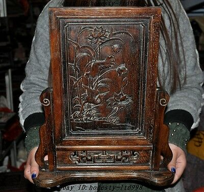 "15"" Unique China fengshui huanghuali wood carved Crane Lotus lucky Screen Byobu"
