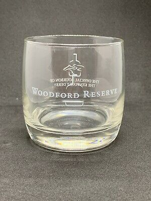 Woodford Reserve Etched Bourbon Whiskey Lowball Glass Kentucky Derby Official
