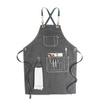 HANSHI Unisex Heavy Duty Waxed Canvas Tool Apron, Waterproof Work Aprons Soft B