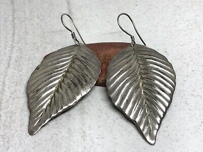 Vintage Taxco Mexico TB-179 Sterling Silver Huge Leaf Dangle Earrings