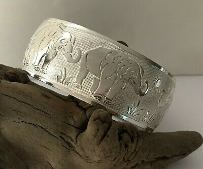 Etched Silver Plate on Copper Cuff Bracelet Elephant Family Sun Flower