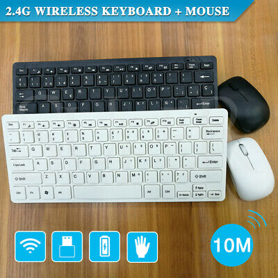 2.4G Wireless Keyboard and Cordless Optical Mouse for PC Laptop Win7/8/10 B & W