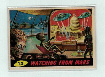 Mars Attacks trading card # 13 Watching from Mars 1962 Bubbles nice condition