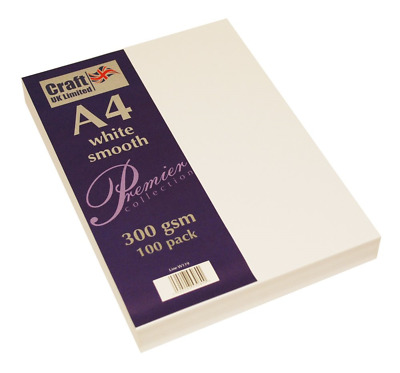Craft UK A4 300Gsm-100 Sheets, White 29.6 x 21 x 0.1 cm, Card 300gsm