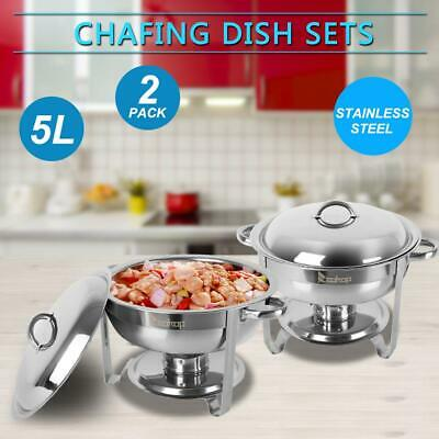 2 Pack 5L Round Catering Stainless Steel Chafer Chafing Dish Restaurant Party