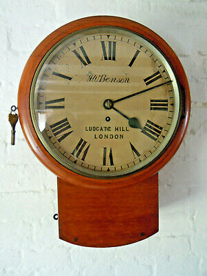 J.w. Benson Antique Chain Fusee Station Dial Mahogany Wall Clock