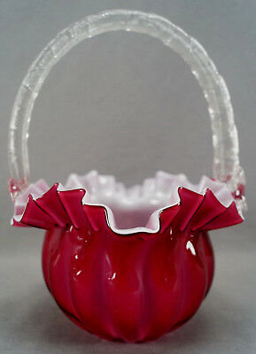 Victorian Cranberry Pink & White Cased Ruffled Edge Art Glass Bride's Basket
