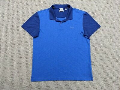 Calvin Klein Liquid Touch Polo Shirt Mens Large Slim Fit Navy Light Blue Casual