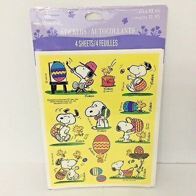 Vintage Snoopy Easter Stickers Peanuts Schulz Hallmark Sealed Pack 4 Sheets