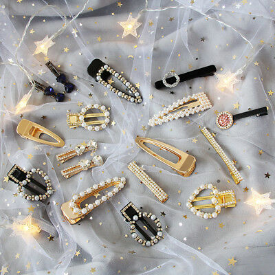 2PCS Women's Crystal Snap Slide Hair Clips Pins Pearl Hair Accessories Party