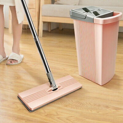 Home Flat Mop Bucket Wet & Dry All Floor Cleaning System +2 MOP Head PadS