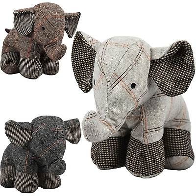 Large Tartan Heavy Fabric Elephant Door Stop Home Office Animal Cuddly Toy