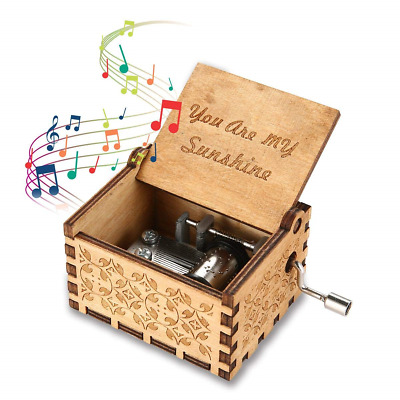 Womdee Music Box You Are My Sunshine Theme, Wooden Classic Music Box Crafts With