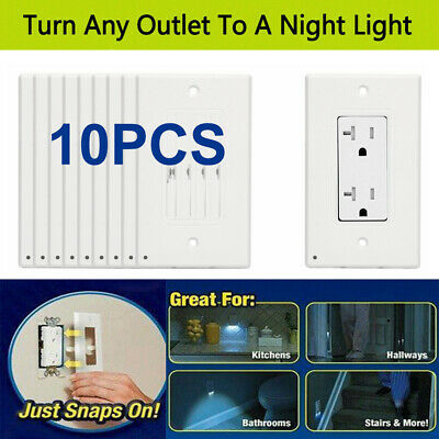 10 PCS Wall Plug in Outlet Covers Wall Plates With Led Night Lights Auto ON/OFF