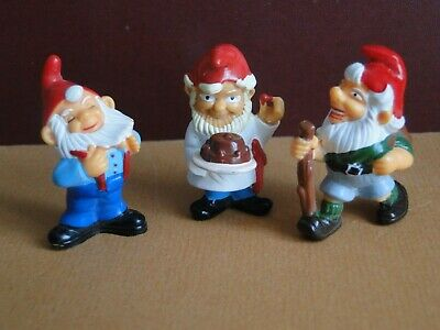 "Lot de 3 anciennes figurines "" NAINS  "" 1992 Kinder Ferrero ( gnomes )"