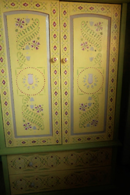 Original hand painted child's nursery wardrobe with drawers armoire gypsy style