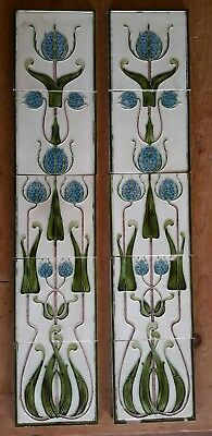Stunning set of Majolica Art Nouveau stylised tiles,.Godwin & Hewitt c 1899