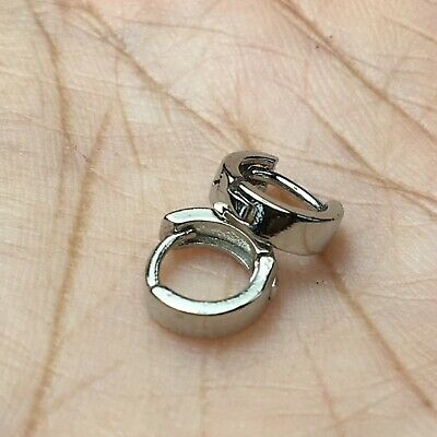 8mm Ring Circle Tiny Star Hoop Earrings Fashion Small Mini Cute Silver Huggie