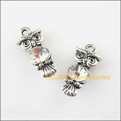 5 New Animal Owl Charms Tibetan Silver Tone Clear Crystal Pendants 10.5x22mm