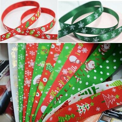 Christmas Ribbon Satin Grosgrain Santa Elf Snowman 10mm 25mm Wedding FavourDecor