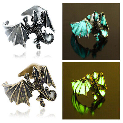 Antique Bronze Luminous Pterosaur Ring Adjustable Open Glow In The Dark Rings