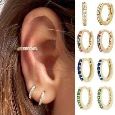 Chic Women 18K Gold Filled Cartilage Ear Studs Hoop Earrings Dangle Drop Jewelry