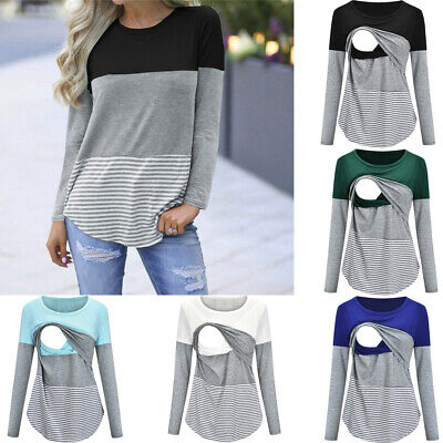 AU Women Maternity Long Sleeve Stripe Nursing Top Shirt Blouse For Breastfeeding