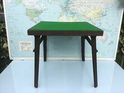 ANTIQUE CARD TABLE WITH CONCERTINA FOLDING LEGS AND GREEN BAIZE 62x62cmx 57cm